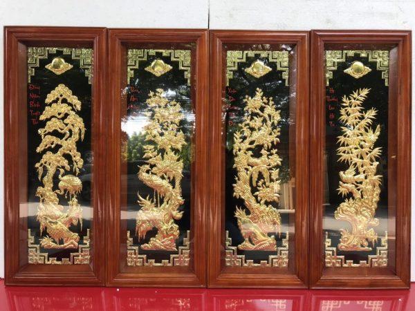Tranh tứ quý dát vàng 100x40cm mã A56