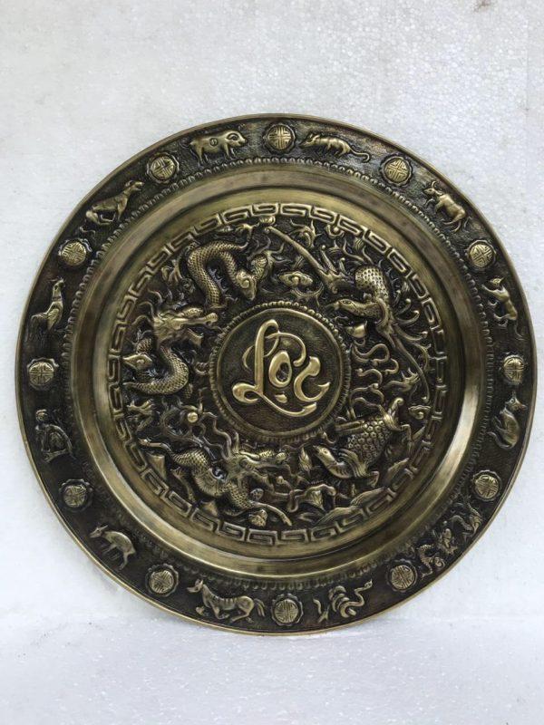 Mâm đồng chữ Lộc giả cổ 52cm mã M04