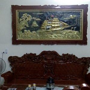 Tranh thuận buồm dát vàng 120x230cm A10