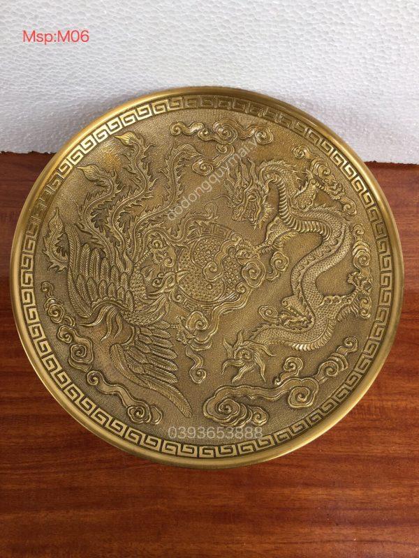 Mâm rồng phượng vàng sẫm rộng 34cm mã M06