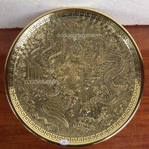 Mâm rồng phượng vàng rộng 31cm mã M08