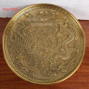 Mâm rồng phượng vàng sẫm rộng 34cm mã MB6