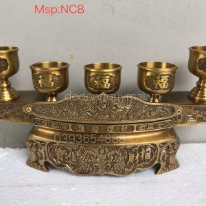 Ngai 5 chén vàng đậm cao 13cm mã NC8