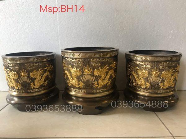 Bát hương hun 2 màu dát vàng mã BH14