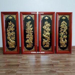 Tranh tứ quý dát vàng khung gỗ nền đen 100x40cm mã A66