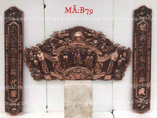 Cuốn thư câu đối Phẳng đầu nổi đồng đỏ dài 155cm đến 197cm