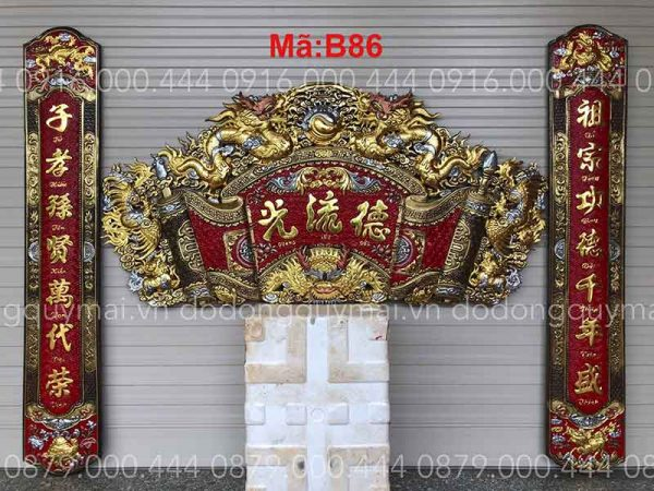 Cuốn thư câu đối rồng đầu nổi dát vàng non dài 155cm đến 197cm