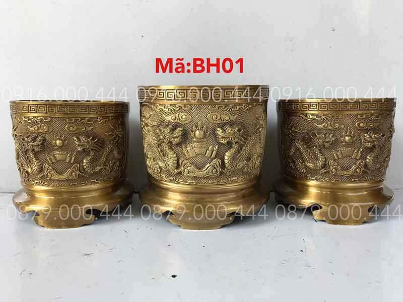 Bộ 3 bát hương vàng đậm đủ kích thước 14cm đến 25cm