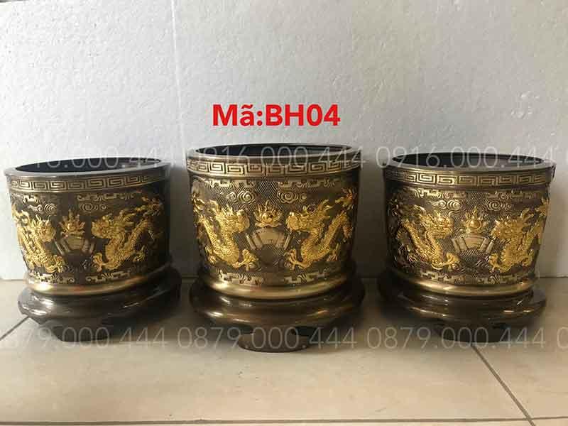 Bộ 3 bát hương hun dát vàng đủ kích thước 12cm đến 35cm