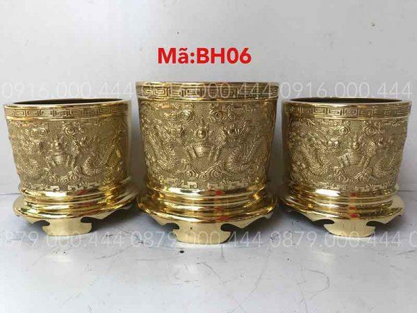Bộ 3 bát hương vàng bóng đủ kích thước 12cm đến 35cm