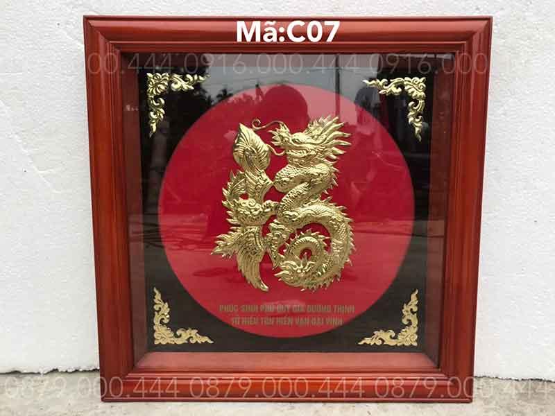 Chữ phúc rồng khung gỗ kích thước 60x60