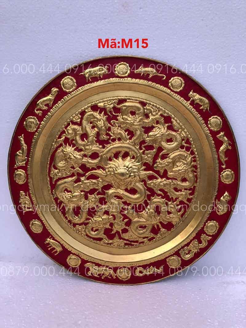 Mâm Cửu Long dát vàng non nền đỏ kích thước 52cm