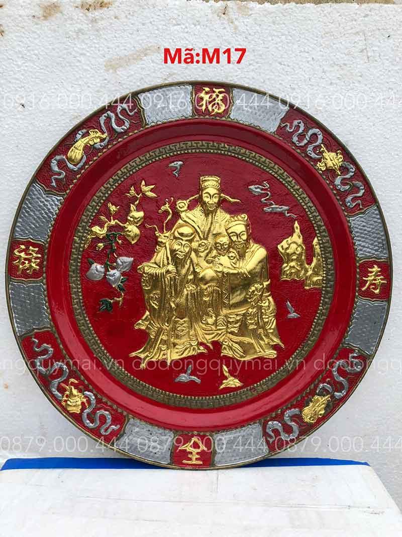 Mâm tam đa giả cổ dát vàng non nền đỏ kích thước 52cm