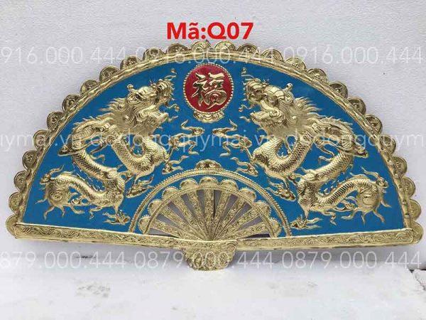 Quạt song long Nền xanh kích thước 120x60
