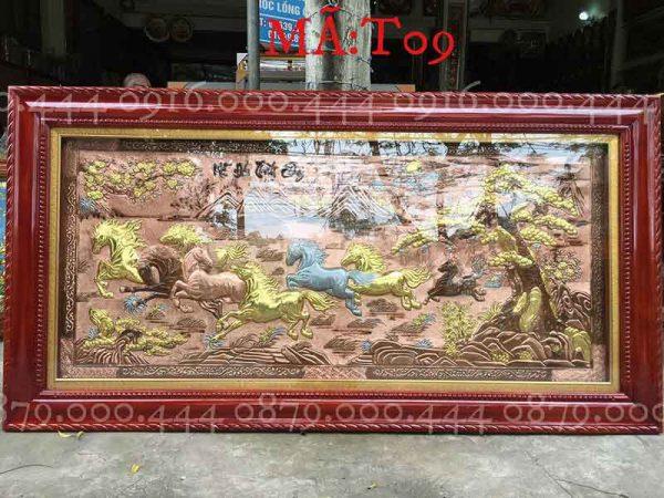 Tranh mã đáo thành công đồng đỏ dát vàng non kích thước 90x170