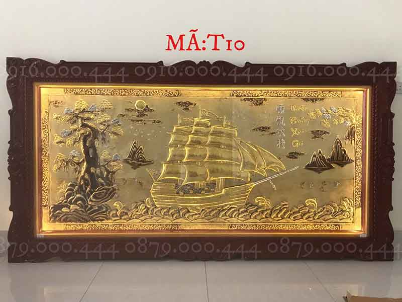 Tranh thuận buồm xuôi gió dát vàng non kích thước 120x230