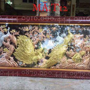 Tranh ngọc đường phú quý đồng đỏ dát vàng kích thước 120x230