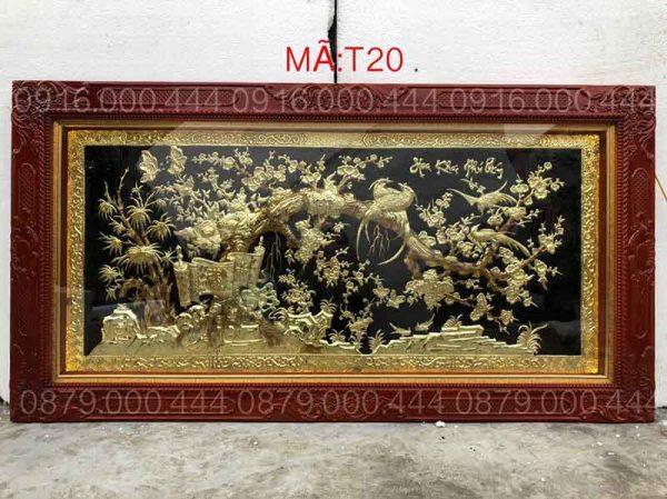 Tranh hoa khai phú quý nền đen kích thước 90x170