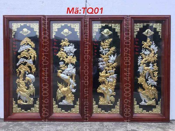Tứ quý khung gỗ dát vàng bạc non kích thước 1mx40cm