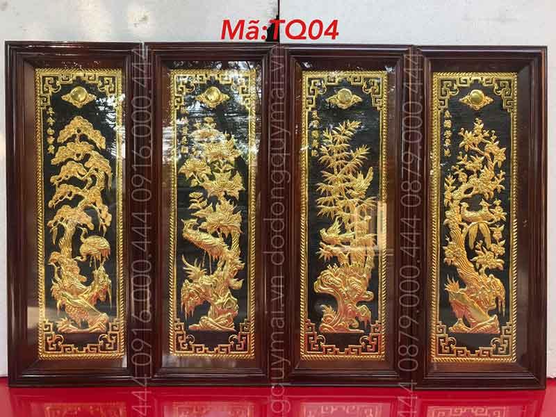 Tứ quý dát vàng non khung gỗ kích thước 1mx40cm