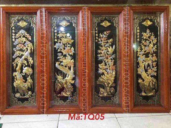Tứ quý khung gỗ dát vàng non kích thước 1mx40cm