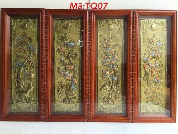 Tứ quý khung gỗ kích thước 1mx40cm
