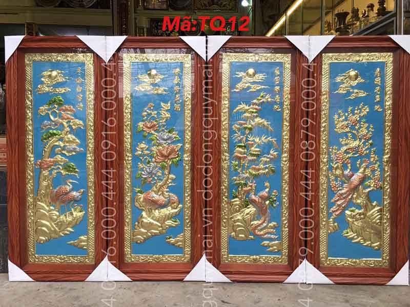 Tứ quý khung giả gỗ kích thước 1mx40cm